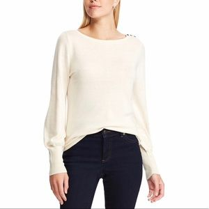 CHAPS Button Shoulder Light Weight Cream Sweater